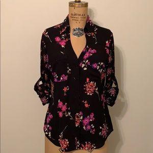 Express Portofino Shirt Blouse Black Floral XS
